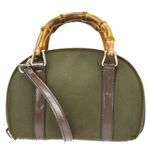 GUCCI Logo Bamboo Mini 2Way Shoulder Hand Bag Nylon Leather Khaki Italy 05MK269